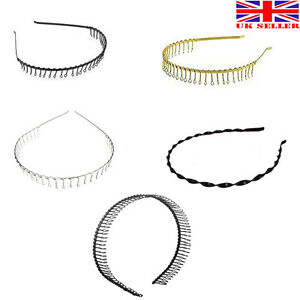Metal Wire Toothed Comb Football Gym Sports Alice HairBand Headband Black Unisex