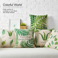 New Green Polypodium Leaves Plants Linen Pillow Case Decorative Cushion Cover 18