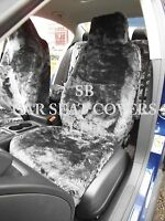 i - TO FIT A FIAT PANDA CAR, SEAT COVERS, 2 FRONTS, BLACK PANTHER FAUX FUR