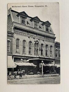 1912 REAL PHOTO POSTCARD McFERREN'S OPERA HOUSE HOOPESTON ILL