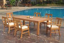 "7pc Grade-A Teak Dining Set 86"" Canberra Rectangle Table 6 Osborne Arm Chair"