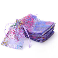 25pcs 12x9cm Coralline Organza Jewelry Pouch Wedding Party Favor Gift Bag $O