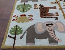 Rug USA 5' x 8' Kids Elephant Animals Handmade Tufted 100% Wool Rugs Carpets