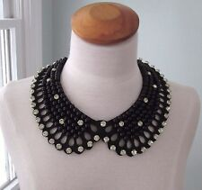 Black Beaded Rhinestone Collar Ties in Back Necklace NWT
