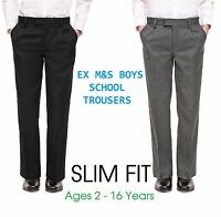 Ex M&S Boys Black Grey School Trousers Slim Fit  Age 2-16 Skinny Fit
