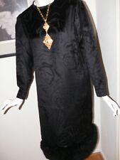 Pauline Trigere Designer Evening Dress Black Cut Velvet with Fur Trim WOW