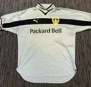 Puma Leeds United Shirt Size Large L Light Blue LUFC Packard Bell Shield Logo