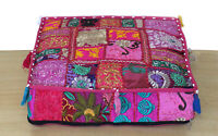 "16x5"" Indian Square Pink Patchwork Cotton Decorative Floor Cushion Cover Ethnic"