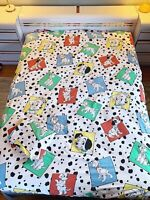Vtg Disney 101 Dalmations Twin Flat Top And Fitted Sheet Cutter Material