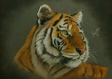 Pastel Painting Tiger Tieger Drwaing Gemälde Unique Art by A.Brunner