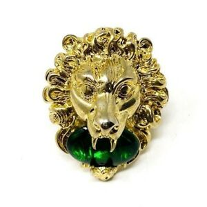 GUCCI Lion Head Gold Ring with Green Crystal Size 7.5