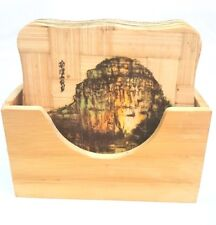 Set of 5 Bamboo Coasters with Holder Chinese Landscapes Paintings