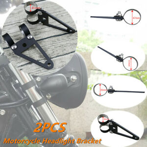 2x Universal Cafe Racer Motorcycle Hand-made Steel Turn Lights Headlight Bracket