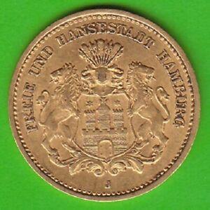 GOLD Hamburg 5 Mark 1877 besser als sehr schön selten nswleipzig