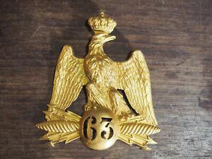 PLAQUE DE SHAKO à l'aigle  OFFICIER DU 63em de ligne  II EMPIRE