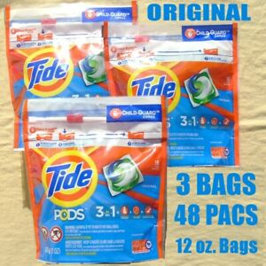 3 TIDE PODS 3 in 1 Laundry Detergent 16 Pacs 12oz. Original - NEW & Sealed