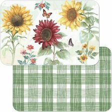 New listing Sunflower Splendor Reversible Easy Care Set of Four Placemats, Made in The Usa