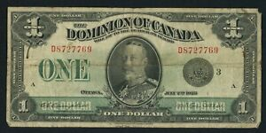 1923 $1 ONE DOLLAR DOMINION OF CANADA CURRENCY BANKNOTE
