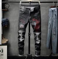 Men's Distressed Ripped Jeans Moto Biker Denim Pants Slim Fit Frayed Trousers US