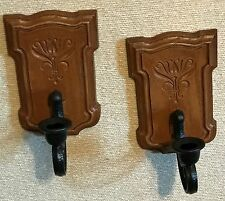 Homco Home Interiors Pair of sconces Brown Black Resin #4222 Vgc Candle Holders