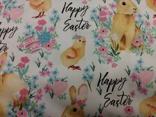Happy Easter Bunny & Chicks Fabric Scrap Quilt Sew