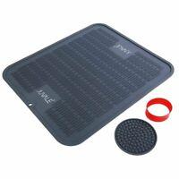 Silicone Dish Drying Mat Kit- Large Dish Draining Kitchen Countertop Mat, Grey