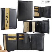 477c0a4b5c43b Herren Portmonee Geldbörse EchtLeder Portemonnaie Hochformat Brieftasche  SCHWARZ
