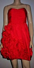 RIVER ISLAND Red Ruched Flower Detail Bandeau Cocktail Prom Party Dress Size 12