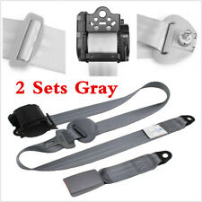 2Set Gray Car Auto Vehicle Adjustable Retractable 3 Point Safety Seat Belt Strap