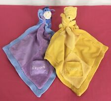 Lot 2 Disney Winnie The POOH & EEYORE Security Blankets Lovey Knit Plush Pocket!