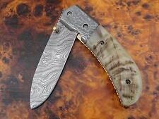 Damast Taschenmesser Damascus Folding Knife Widder Horn 786 290