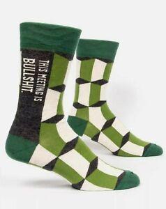 Blue Q Men's Crew Socks This Meeting is Bull**** - Green/Gray SIZE 7-12