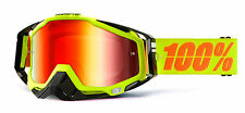100% MASCHERINA OCCHIALE RACECRAFT NEON SIGN GIALLO MOTO CROSS ENDURO GOGGLE