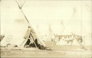 Native Sioux Indian Camp Tepees Doubleday Real Photo Postcard