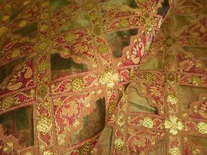 Stunning Retro Vintage Silk Organdy Organza Jacquard Woven Fabric~Olive Red Gold