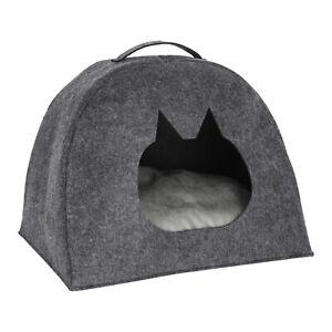 Tierhöhle mit Tragegriff anthrazit inkl. Kissen für Hund & Katze Tierbett