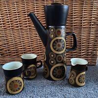 Vintage Denby 'Arabesque' Tall Coffee Pot, Milk Jug & 2 x Coffee Cups Mugs
