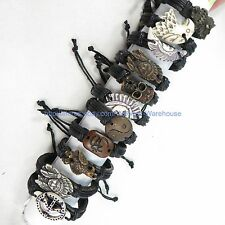 US Seller-10 pcs faux leather charm bracelet cheap chic jewelry wholesale