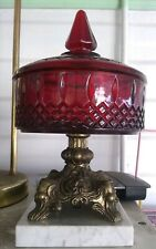 Vtg Ruby Flash Glass Lidded Compote Candy Dish Cast Metal Pedestal Marble Base