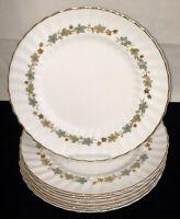 "8 Royal Doulton*PIEDMONT*BLUE LEAVES W/GOLD* 10 1/2"" DINNER PLATES* H4967*"
