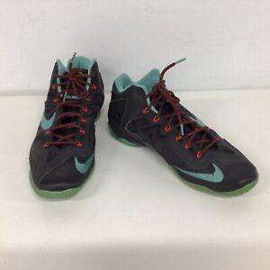 Nike LeBron Flywire 2014 Black Turquoise Basketball Sneakers Size UK 12 #451