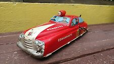 1950's FIRE CHIEF CAR # 17 TIN LITHO WIND-UP W/SIREN SOUND MEXICAN MARX WORKING