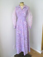Vgc Vtg 70s Mod Purple Lilac Floral Maxi Dress Fit Flare Gown Sheer Sleeves S