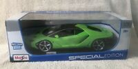 Lamborghini Centenario Lime Green w/ Matt Black Top 1/18 Maisto Special Edition!