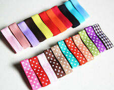 20pcs DIY Kids Girls Baby Safe Multicolor Dot Satin Ribbon Covered Hair Clips