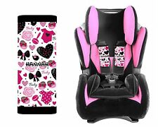 PERSONALIZED BABY TODDLER CAR SEAT STRAP COVERS CUTE GIRL BOWS HEARTS
