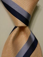 LUIGI BORRELLI NAPOLI Men's 100% Silk Necktie ITALY Luxury STRIPED Pink/Blue EUC