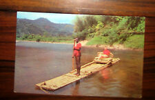 Vintage Jamaica Rafting on Rio Grande Postcard Caribbean Islands Port Antonio