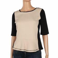 Vero Moda Top Cream Black Textured Short Sleeve Size XS Be 237