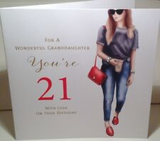 Happy 21st Birthday Card For A Wonderful Granddaughter by Mary Kirkham